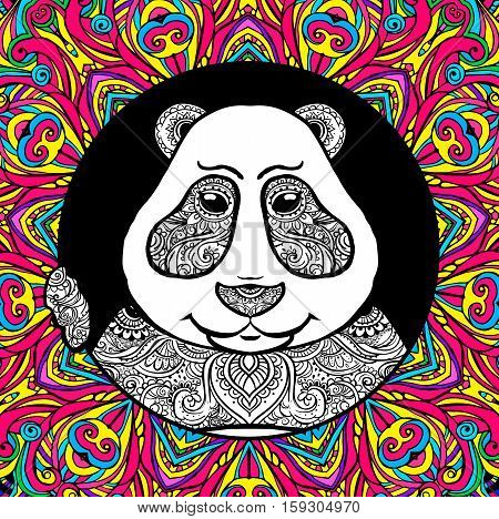 Vector Illustration Panda. Print for clothes, cards, picture banner for websites. Ethnic ornaments.Adult coloring book