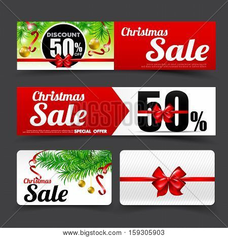 Collection of merry christmas santa tag banner promotion sale discount style vector illustration eps 10