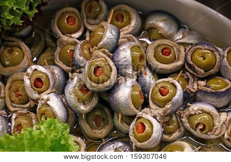 Marinated Anchovy Rolls With Olives