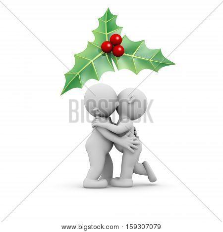 3d humans couple kissing under a mistletoe