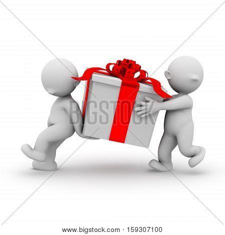 3d human carrying a big present christmas box