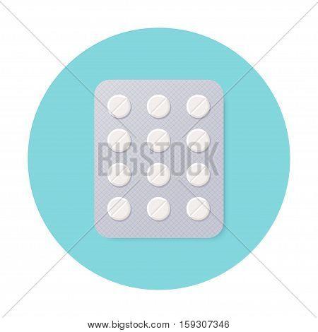 Pills Blister Pack with White Round Pills. Vector Design