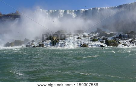 Canadian side of Niagara Falls on a sunny day