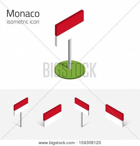 Principality of Monaco flag vector set of isometric flat icons 3D style different views. Design elements for banner website presentation infographic poster card collage. Eps 10
