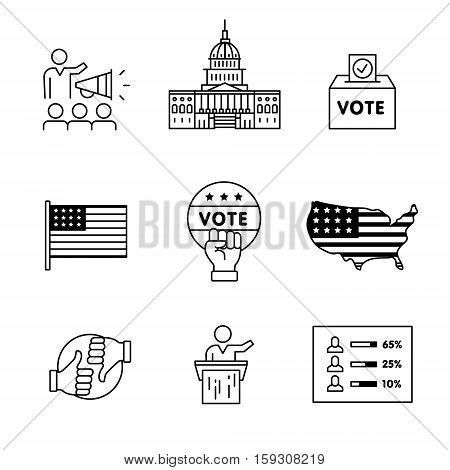 Elections, campaign and voting signs set. Thin line art icons. Linear style illustrations isolated on white.