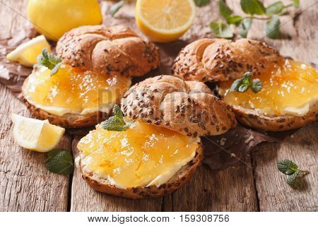 Sweet Sandwiches With Lemon Jam And Butter Close-up. Horizontal