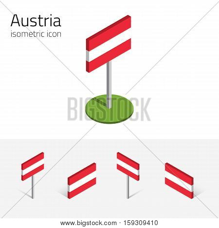 Austrian flag (Republic of Austria) vector set of isometric flat icons 3D style different views. 100% editable design elements for banner website presentation infographic poster map. Eps 10