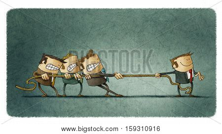 Illustration of a scene of rope tugging where three people try hard to cope with one man