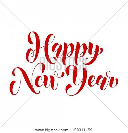 Lettering design for Happy New Year greeting card template. Calligraphic style font type for banner. Vector text calligraphy and creative typography for Christmas holiday gift poster