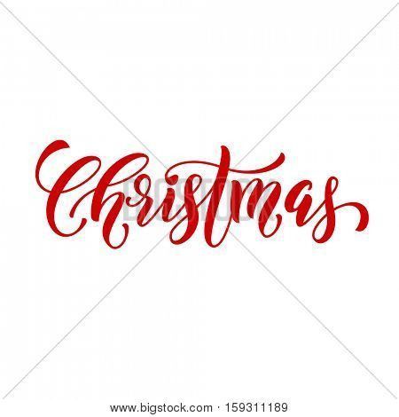Merry Christmas vector calligraphic style font for banner. Lettering design and  text calligraphy for  greeting card template. Christmas Holiday gift poster creative type typography