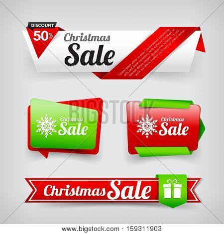 Collection of Christmas web tag banner promotion sale and discount vector illustration eps10