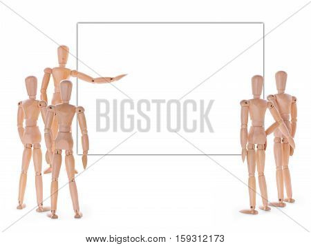 Wooden characters meeting. Speaker audience and empty screen with copy space. Lecture training presentation or briefing concept
