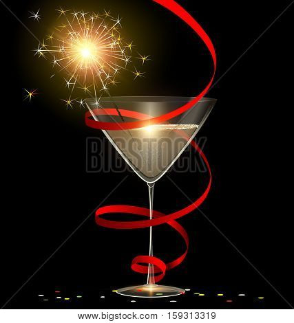 dark background and the glass of champagne with burning sparkler inside red tape and confetti