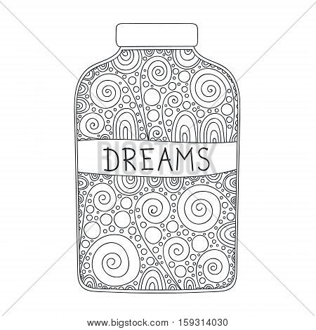 Doodle jar. Vector hand drawn doodle jar for anti stress coloring. Bottle with Dreams bubbles and swirls. Isolated. Outline. Black and white illustration for coloring book.