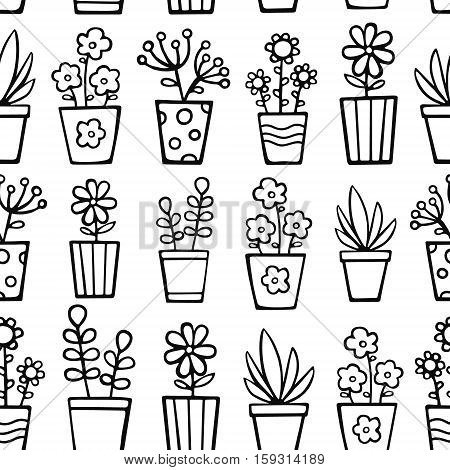 vector seamless pattern with hand drawn plants in pots nice doodle