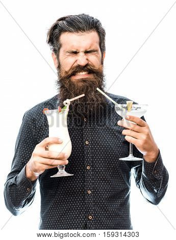 Bearded Man With Nonalcoholic Cocktails