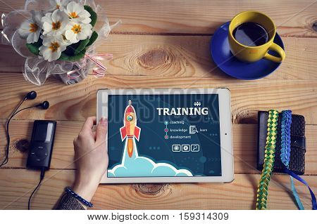 Laptop Computer, Tablet Pc And Training Concept