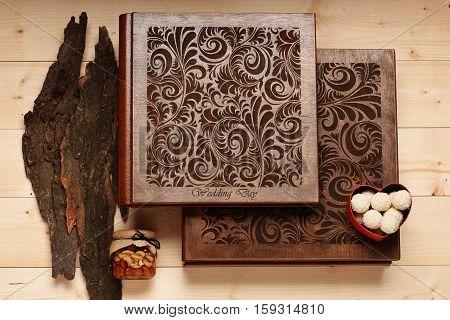 Wedding Album On Wooden Background
