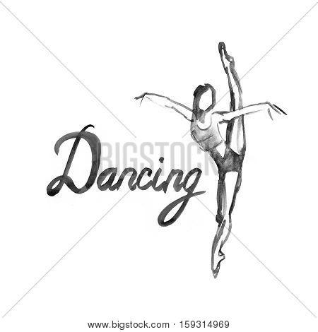 Watercolor illustration ballerina icon in dance. Design poster ballet school, dance studio