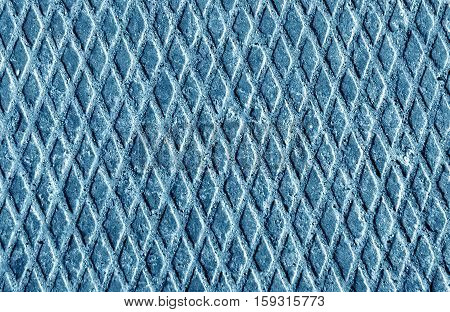 Metal Floor Texture With Sand In Blue Tone.