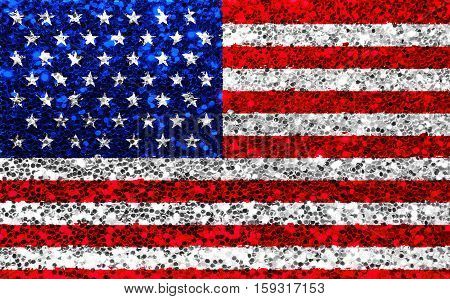 American Usa Fabric Glitter Flag, Sparkle Stars And Stripes