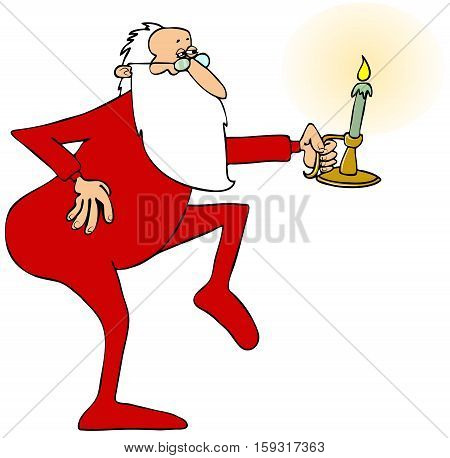 Illustration of Santa Claus sneaking on his tiptoes while holding a lit candlestick.