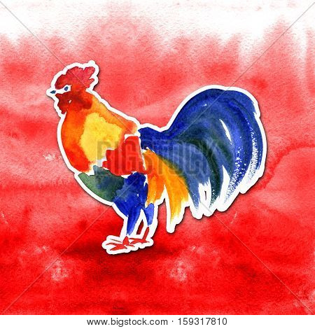Chinese New Year card Design with rooster, zodiac symbol of 2017 year, on watercolor background Chinese Translation: Happy Chinese New Year, on stamp : wishes of good luck .