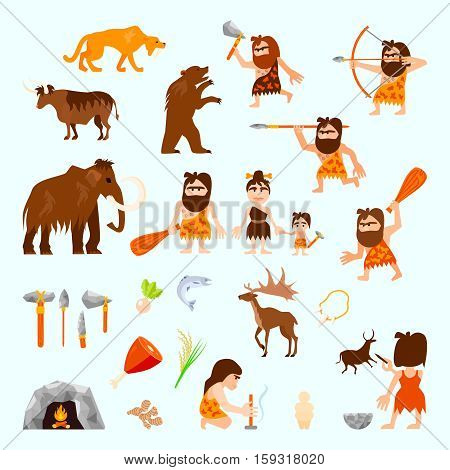Stone age flat icons set with caveman animals tools food tribe bonfire hunting sculpture isolated vector illustration