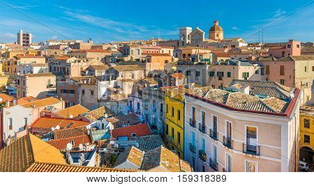 Cagliari - Sardinia Italy: Cityscape of the old city center in the capital of Sardinia, wide angle panorama, view from rooftop