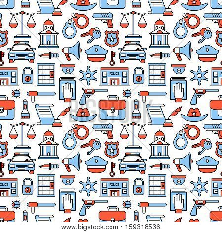 Police and law enforcement icons square seamless pattern. For store sales decoration. Thin line art flat objects texture illustration.