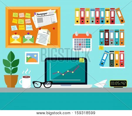 Office workplace design concept set with book shelves and calendar on wall and laptop glasses and cup of coffee on desk vector illustration.  desk