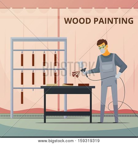 Professional woodwork painter spraying acrylic paint over wood furniture parts for smooth finish flat poster vector illustration