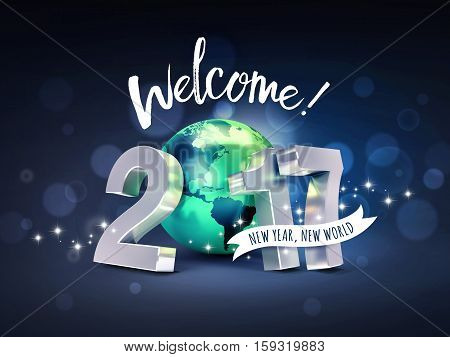 Greetings and 2017 New Year type composed with a green planet earth on a glittering black background - 3D illustration