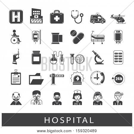 Collection of medical icons. Set of premium quality icons related to medicine, hospital, emergency.