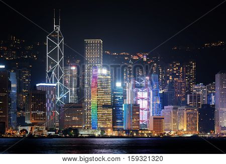 Night View Of Skyscrapers In Downtown Of Hong Kong