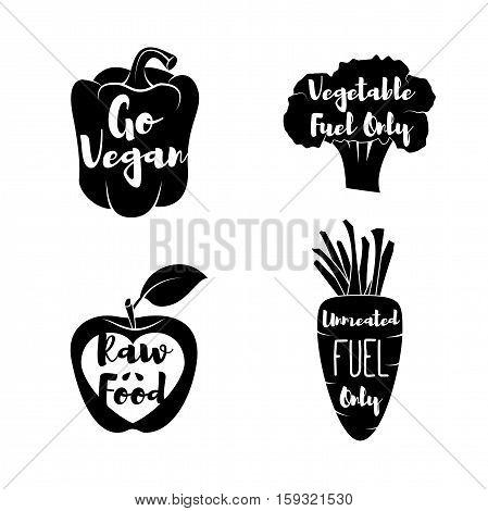 Vegan Labels set. - Cocept. doodle - Sweet Pepper. Red Apple. Green Broccoli. Carrot. Vector Illustration Isolated Emblems