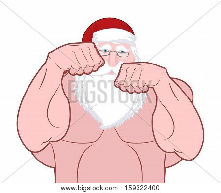 Santa Fighter. Claus Fights. Father Christmas Beats Fists. Old Man Knuckle Beat. New Year Fight