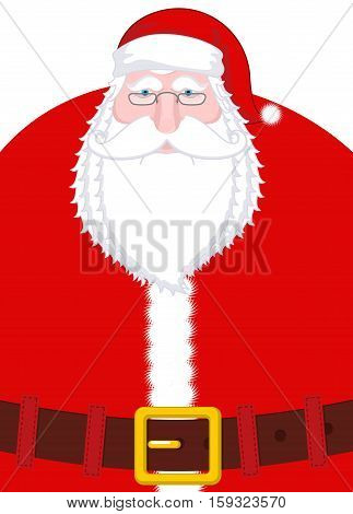 Santa Claus Portrait. Christmas Grandpa With White Beard And Red Cap And Belt. Illustration For New