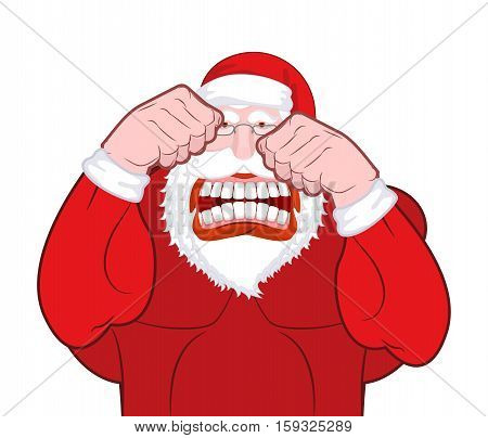Santa Claus Fights. Father Christmas Beats Fists. Old Man Knuckle Beat. New Year Fight
