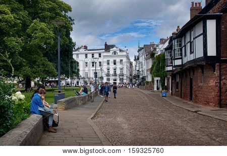 EXETER UK - July 11 2016: Citizens in the Cathedral Close. England. Devon