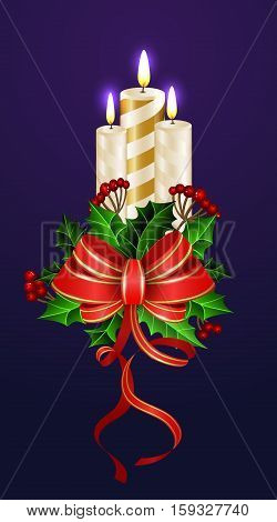 Christmas decoration with tree candles and evergreen trees and with red bow and holly