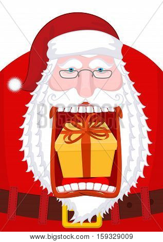 Santa Claus Burping Gift. Open Mouth Box Burp. Crazy Christmas Grandfather