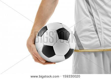Professional football player holding ball on white background, closeup