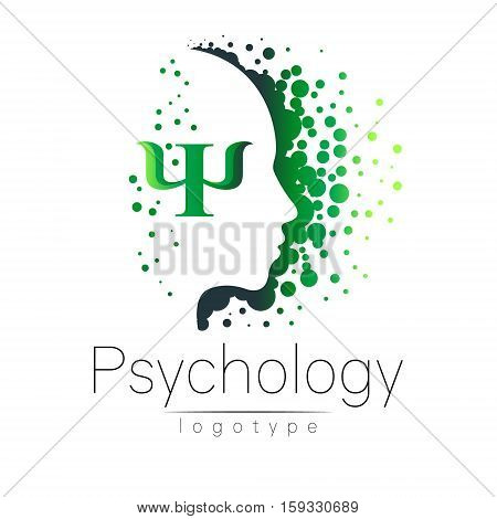 Modern head logo of Psychology. Profile Human. Creative style. Logotype in vector. Design concept. Brand company. Green color isolated on white background. Symbol for web, print