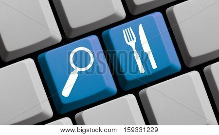 Blue computer keyboard Search for Food and Restaurants