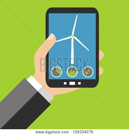 Hand holding Smartphone: Windmill Data - Flat Design