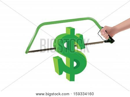 hand saw cuts with green dollar sign