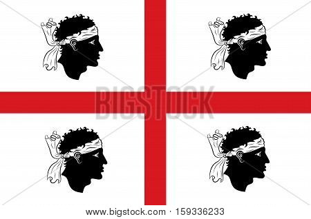 Flag of Sardinia is the second-largest island in the Mediterranean Sea and an autonomous region of Italy. Vector illustration