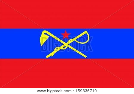 Flag of Inner Mongolia officially Inner Mongolia Autonomous Region or Nei Mongol Autonomous Region of China. Vector illustration