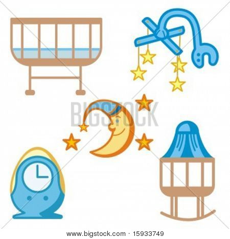 Baby icons series. Baby beds and accessories. Check my portfolio for much more of this series as well as thousands of similar and other great vector items.